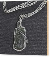Ss Wire Wrapped Moldavite Pendant Wood Print by D Nigon