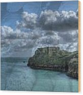 St Catherines Rock Tenby With A Shell Texture Wood Print