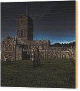 St Davids Cathedral Pembrokeshire Dusk Wood Print