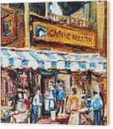 St. Denis And Prince Arthur Montreal Cafe Scene Wood Print