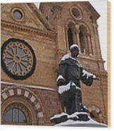 St Francis Cathedral In Santa Fe - Winter Wood Print