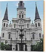 St Louis Cathedral And Fountain Jackson Square French Quarter New Orleans Accented Edges Digital Art Wood Print