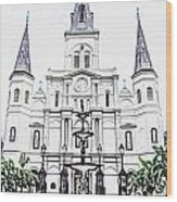 St Louis Cathedral And Fountain Jackson Square French Quarter New Orleans Colored Pencil Digital Art Wood Print