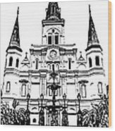 St Louis Cathedral And Fountain Jackson Square French Quarter New Orleans Stamp Digital Art Wood Print