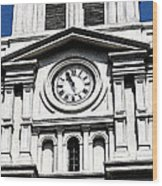 St Louis Cathedral Clock Jackson Square French Quarter New Orleans Fresco Digital Art Wood Print