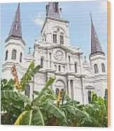 St Louis Cathedral Rising Above Palms Jackson Square New Orleans Film Grain Digital Art Wood Print