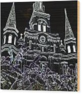 St Louis Cathedral Rising Above Palms Jackson Square New Orleans Glowing Edges Digital Art Wood Print