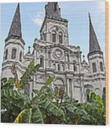 St Louis Cathedral Rising Above Palms Jackson Square New Orleans Poster Edges Digital Art Wood Print