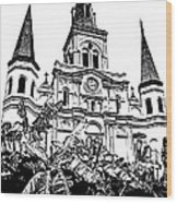 St Louis Cathedral Rising Above Palms Jackson Square New Orleans Stamp Digital Art Wood Print