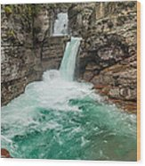 St. Mary Falls In Spring Wood Print