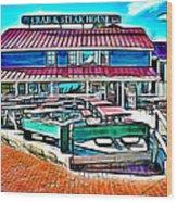 St Michaels Crab And Steak House Wood Print