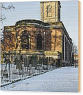 St Modwen's Church - Burton - In The Snow Wood Print