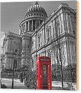 St Pauls Telephone Box Wood Print
