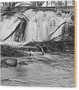 St Vrain River Waterfall Slow Flow Bw Wood Print