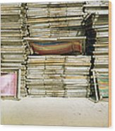 Stacked Deckchairs On Beach Wood Print