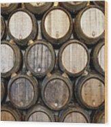 Stacked Oak Barrels In A Winery Wood Print by Marc Volk