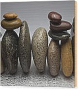 Stacked River Stones Wood Print