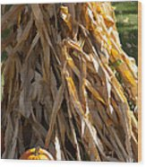 Stacked Stalks And Placed Pumpkin Wood Print