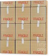 Stacks Of Cardboard Boxes Marked 'fragile' Wood Print