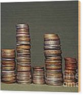 Stacks Of Various Currency Coins Wood Print
