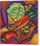Staff For Yummy Salad Wood Print