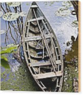 Stagnant Boat Wood Print