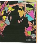 Stain Glass Cowboy Wood Print