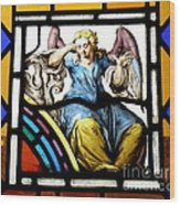 Stained Glass Angel Wood Print