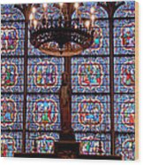 Stained Glass At Notre Dame Cathedral Wood Print