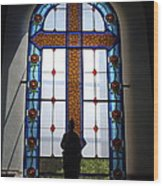 Stained Glass Cross Window Of Hope Wood Print