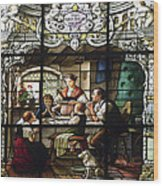 Stained Glass Family Giving Thanks Wood Print