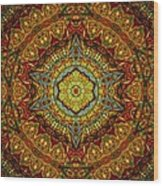 Stained Glass Gas Ring Mandala Wood Print by Richard H Jones