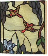 Stained Glass Humming Bird Vertical Window Wood Print by Thomas Woolworth