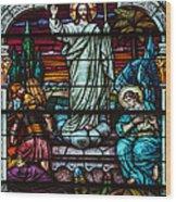 Stained Glass Jesus Wood Print