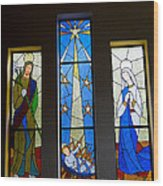 Stained Glass Nativity Wood Print
