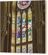 Stained Glass Of St Michaels Basilica Wood Print