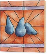 Stained Glass Pears Wood Print by Bobbi Price