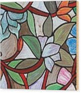 Stained Glass Wild  Flowers Wood Print