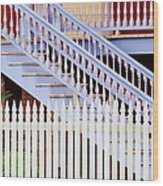 Stairs And White Picket Fence Wood Print