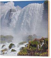 Stairs And Yellow Raincoats Near American Falls Wood Print
