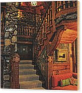 Stairway In Gillette Castle Connecticut Wood Print