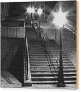 Stairway To Montmartre At Night Wood Print