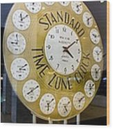 Standard Time Zone Clock. Wood Print by Mark Williamson