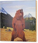 Standing Grizzly  Wood Print