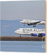 Star Alliance Airlines And Frontier Airlines Jet Airplanes At San Francisco Airport . Long Cut Wood Print