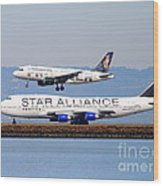 Star Alliance Airlines And Frontier Airlines Jet Airplanes At San Francisco International Airport Wood Print