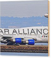 Star Alliance Airlines And United Airlines Jet Airplanes At San Francisco Airport Sfo . Long Cut Wood Print