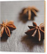 Star Anise On Slate Tray Wood Print by Alexandre Fundone