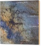 Star Map Version The Milky Way And Constellations Scorpius Sagittarius And The Star Antares Wood Print