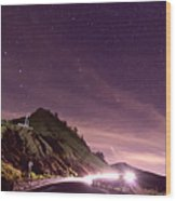 Star On Mountain Hill Wood Print
